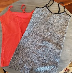 Red and Heather black tanks